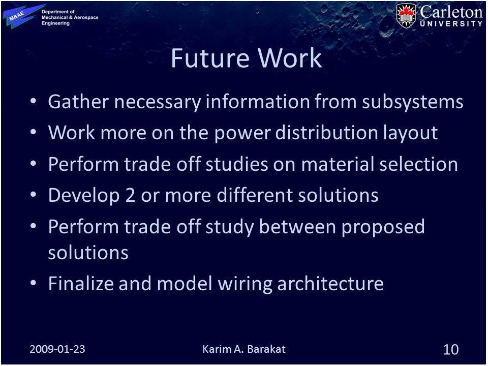 Future Work 2009-01-23 10 Karim A.