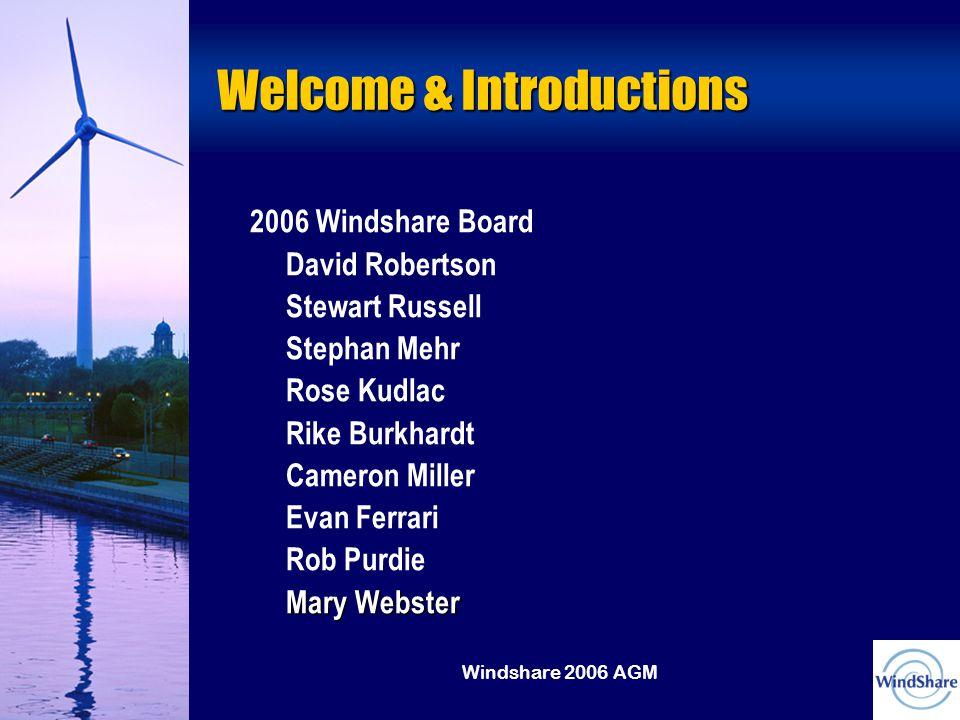 Windshare 2006 AGM Welcome & Introductions 2006 Windshare Board David Robertson Stewart Russell Stephan Mehr Rose Kudlac Rike Burkhardt Cameron Miller