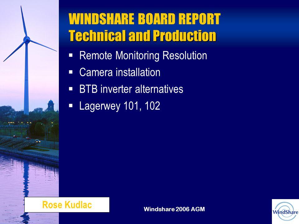 Windshare 2006 AGM Technical and Production WINDSHARE BOARD REPORT Technical and Production   Remote Monitoring Resolution   Camera installation   BTB inverter alternatives   Lagerwey 101, 102 Rose Kudlac
