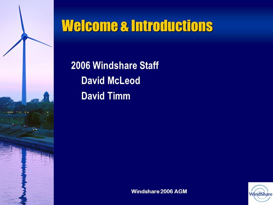 Windshare 2006 AGM Welcome & Introductions 2006 Windshare Staff David McLeod David Timm