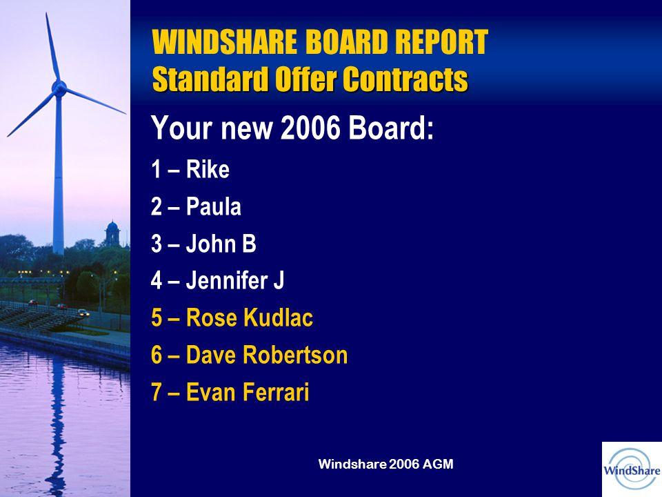 Windshare 2006 AGM Standard Offer Contracts WINDSHARE BOARD REPORT Standard Offer Contracts Your new 2006 Board: 1 – Rike 2 – Paula 3 – John B 4 – Jennifer J 5 – Rose Kudlac 6 – Dave Robertson 7 – Evan Ferrari