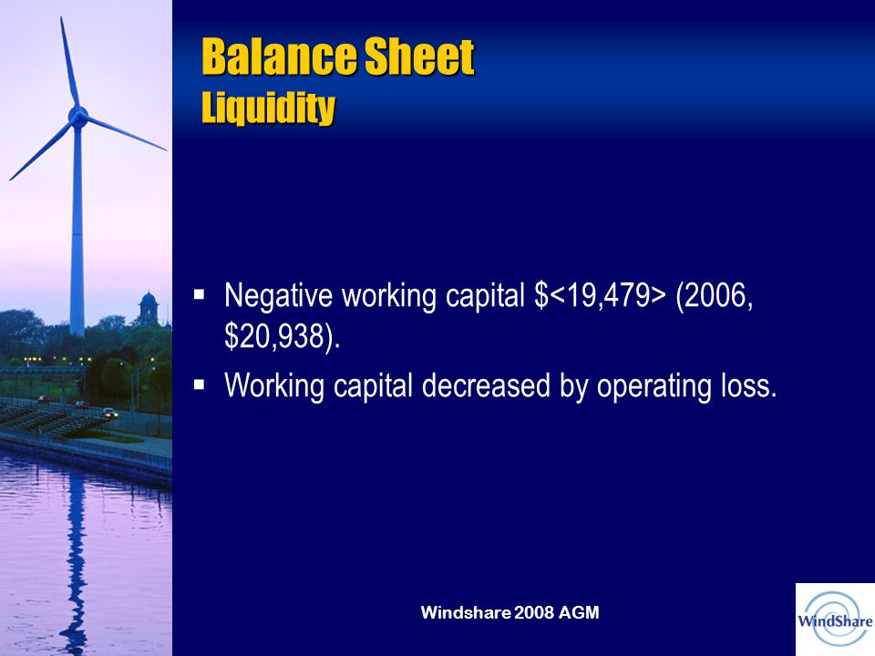 Windshare 2008 AGM Balance Sheet Liquidity   Negative working capital $ (2006, $20,938).