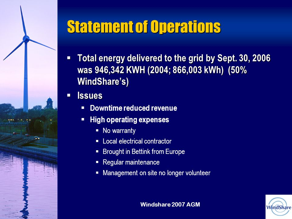 Windshare 2007 AGM Statement of Operations  Total energy delivered to the grid by Sept.