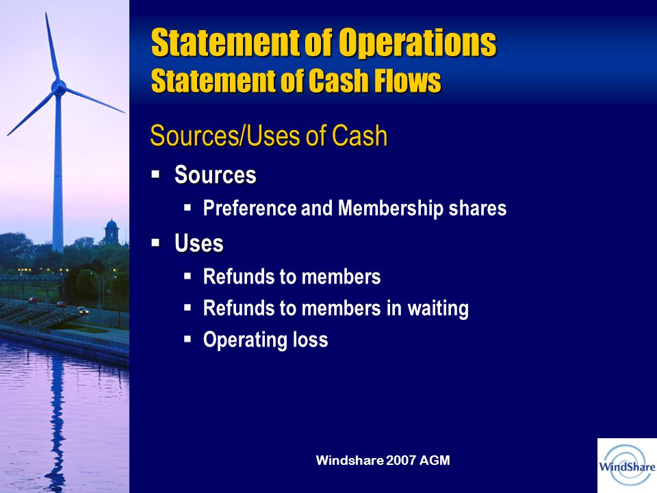 Windshare 2007 AGM Statement of Operations Statement of Cash Flows Sources/Uses of Cash  Sources  Preference and Membership shares  Uses  Refunds to members  Refunds to members in waiting  Operating loss