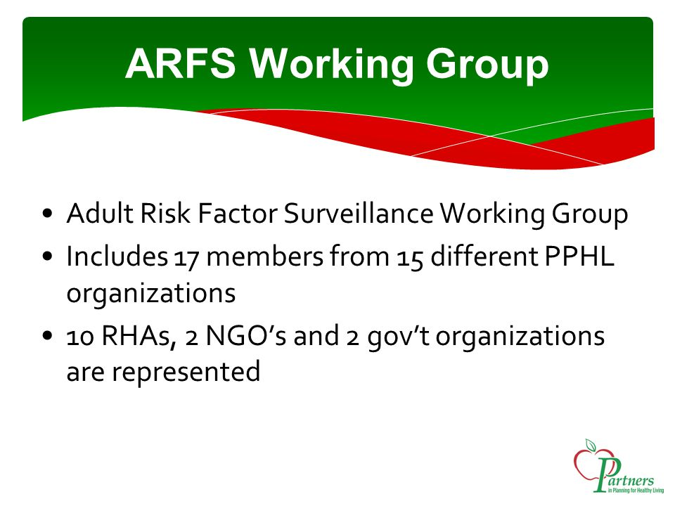 ARFS Working Group Adult Risk Factor Surveillance Working Group Includes 17 members from 15 different PPHL organizations 10 RHAs, 2 NGO's and 2 gov't organizations are represented