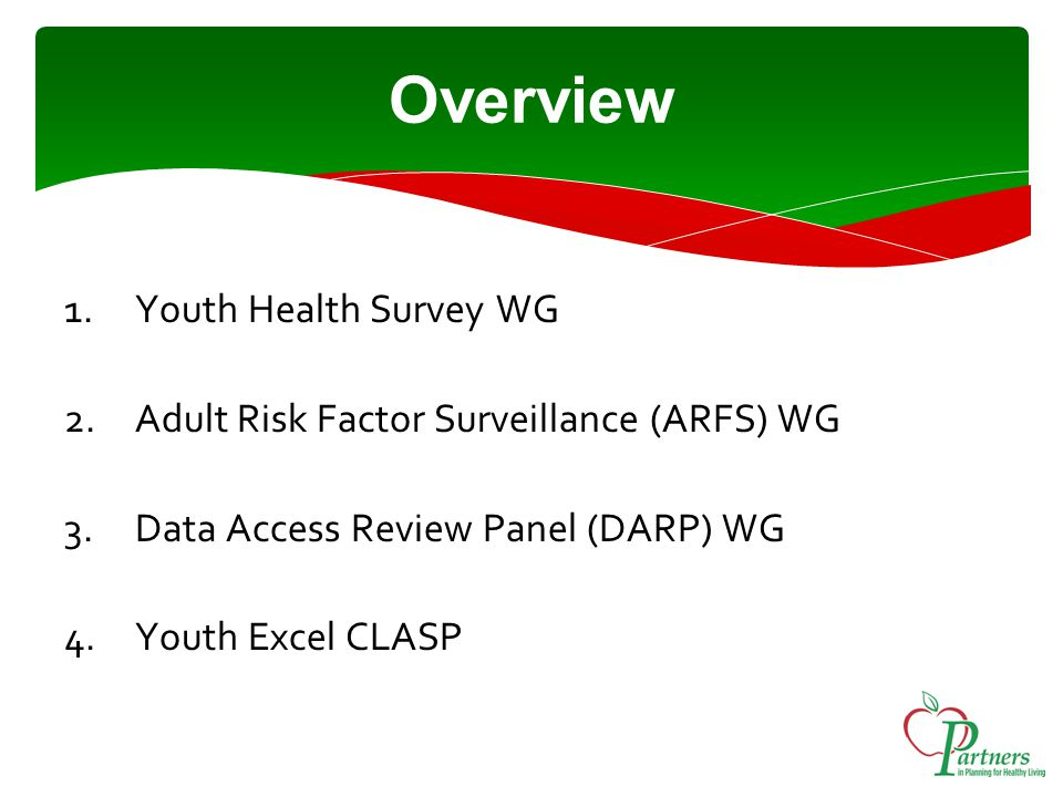 Overview 1.Youth Health Survey WG 2.Adult Risk Factor Surveillance (ARFS) WG 3.Data Access Review Panel (DARP) WG 4.Youth Excel CLASP