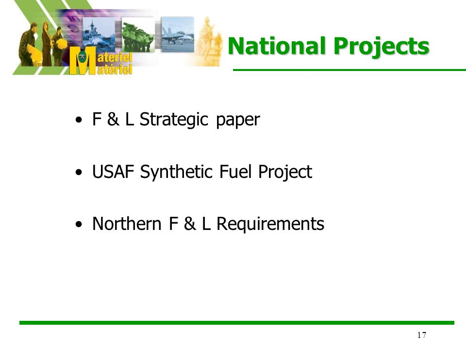 17 National Projects F & L Strategic paper USAF Synthetic Fuel Project Northern F & L Requirements