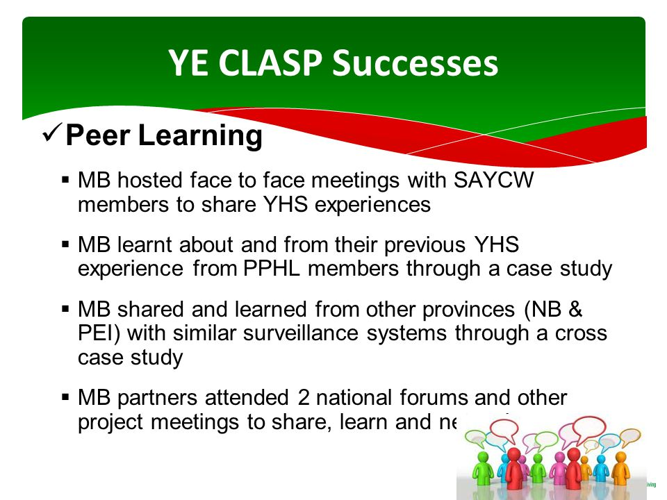 YE CLASP Successes Peer Learning  MB hosted face to face meetings with SAYCW members to share YHS experiences  MB learnt about and from their previous YHS experience from PPHL members through a case study  MB shared and learned from other provinces (NB & PEI) with similar surveillance systems through a cross case study  MB partners attended 2 national forums and other project meetings to share, learn and network