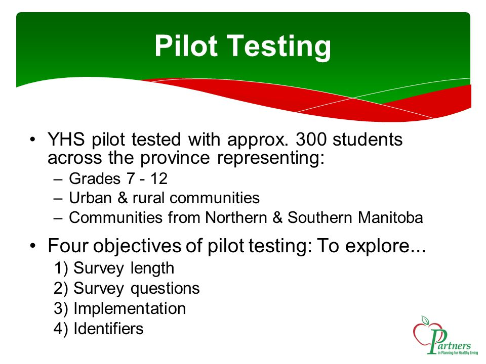 Pilot Testing YHS pilot tested with approx.