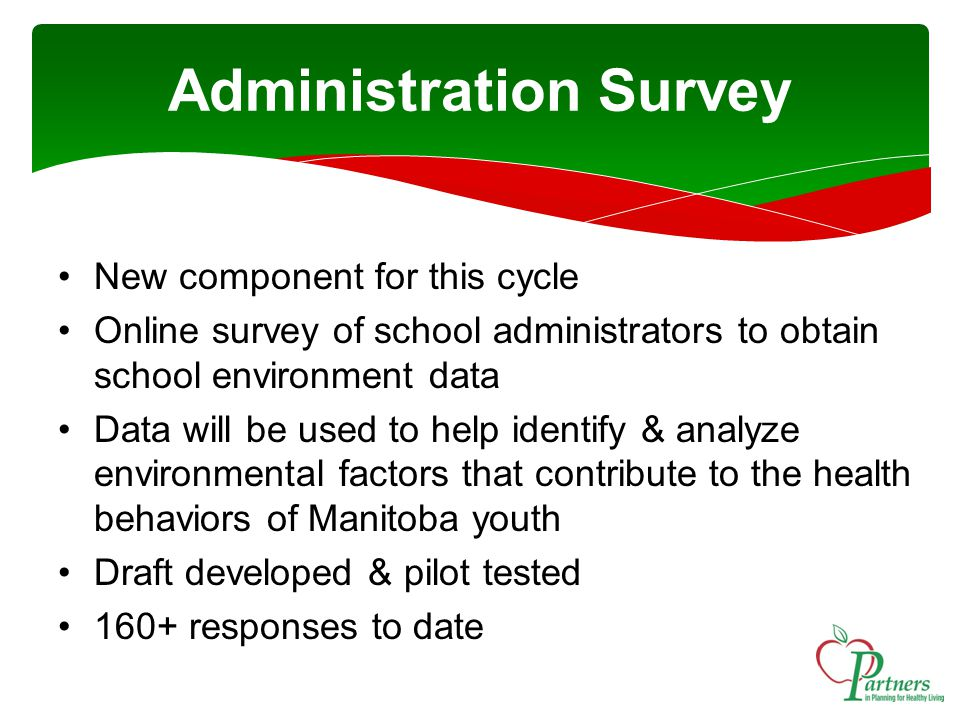 Administration Survey New component for this cycle Online survey of school administrators to obtain school environment data Data will be used to help identify & analyze environmental factors that contribute to the health behaviors of Manitoba youth Draft developed & pilot tested 160+ responses to date