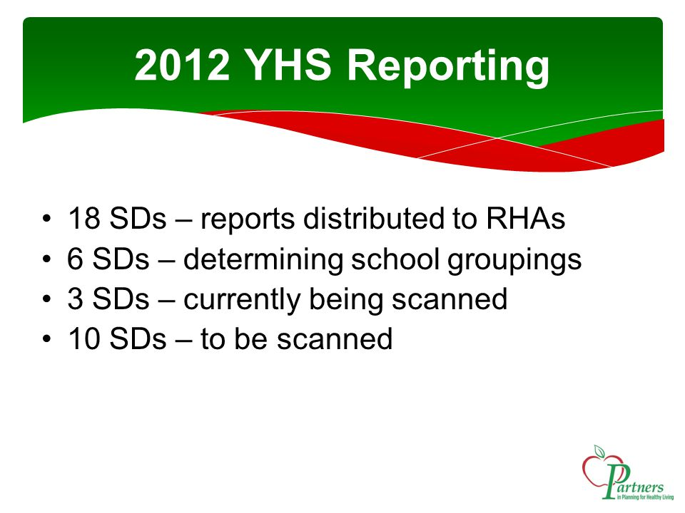 18 SDs – reports distributed to RHAs 6 SDs – determining school groupings 3 SDs – currently being scanned 10 SDs – to be scanned 2012 YHS Reporting