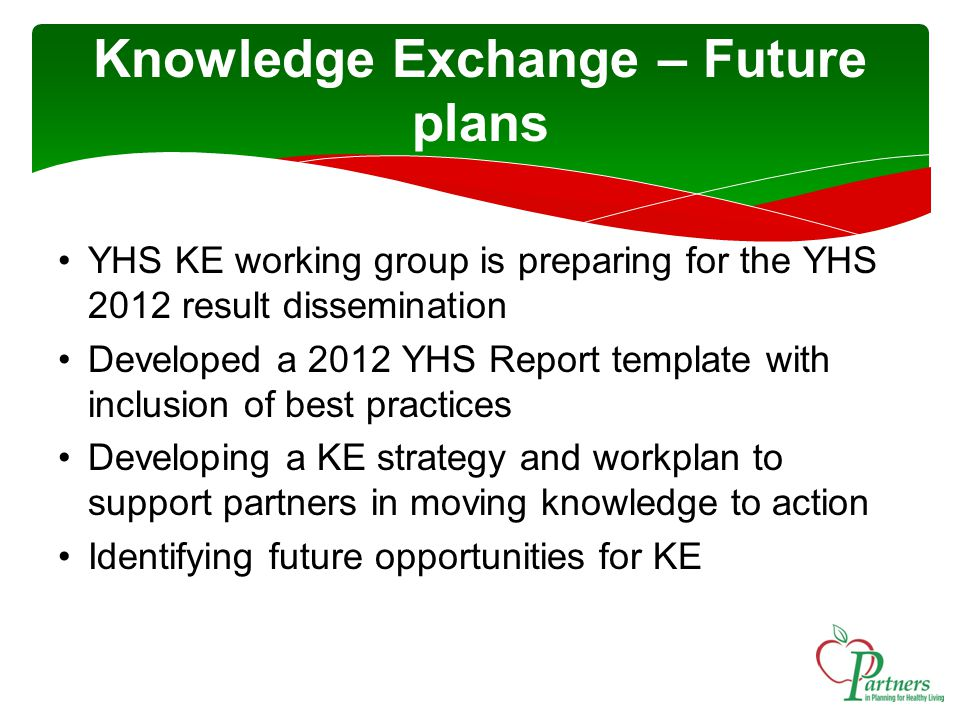 YHS KE working group is preparing for the YHS 2012 result dissemination Developed a 2012 YHS Report template with inclusion of best practices Developing a KE strategy and workplan to support partners in moving knowledge to action Identifying future opportunities for KE Knowledge Exchange – Future plans