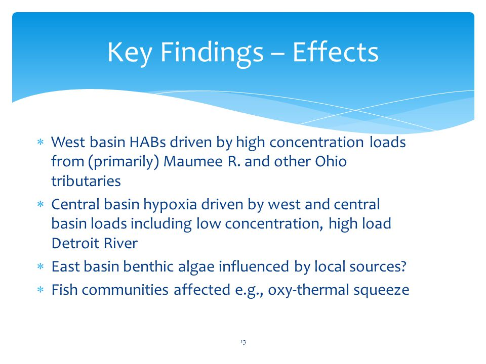 Key Findings – Effects  West basin HABs driven by high concentration loads from (primarily) Maumee R.