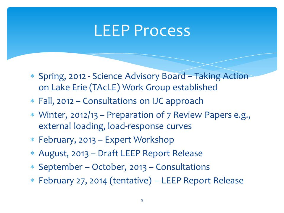  Spring, 2012 - Science Advisory Board – Taking Action on Lake Erie (TAcLE) Work Group established  Fall, 2012 – Consultations on IJC approach  Win