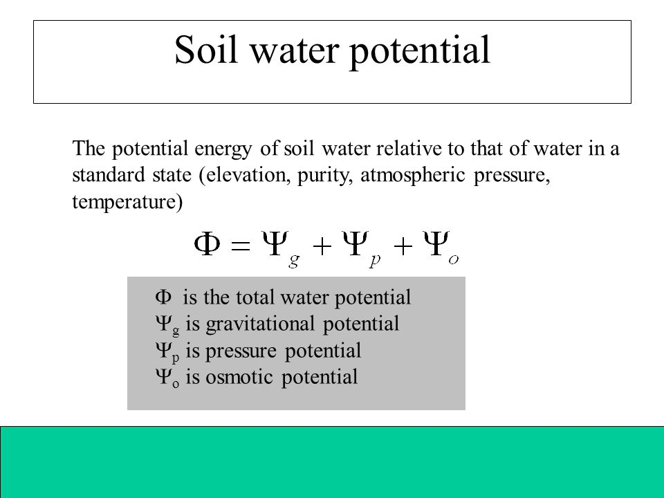 Soil water potential The potential energy of soil water relative to that of water in a standard state (elevation, purity, atmospheric pressure, temper