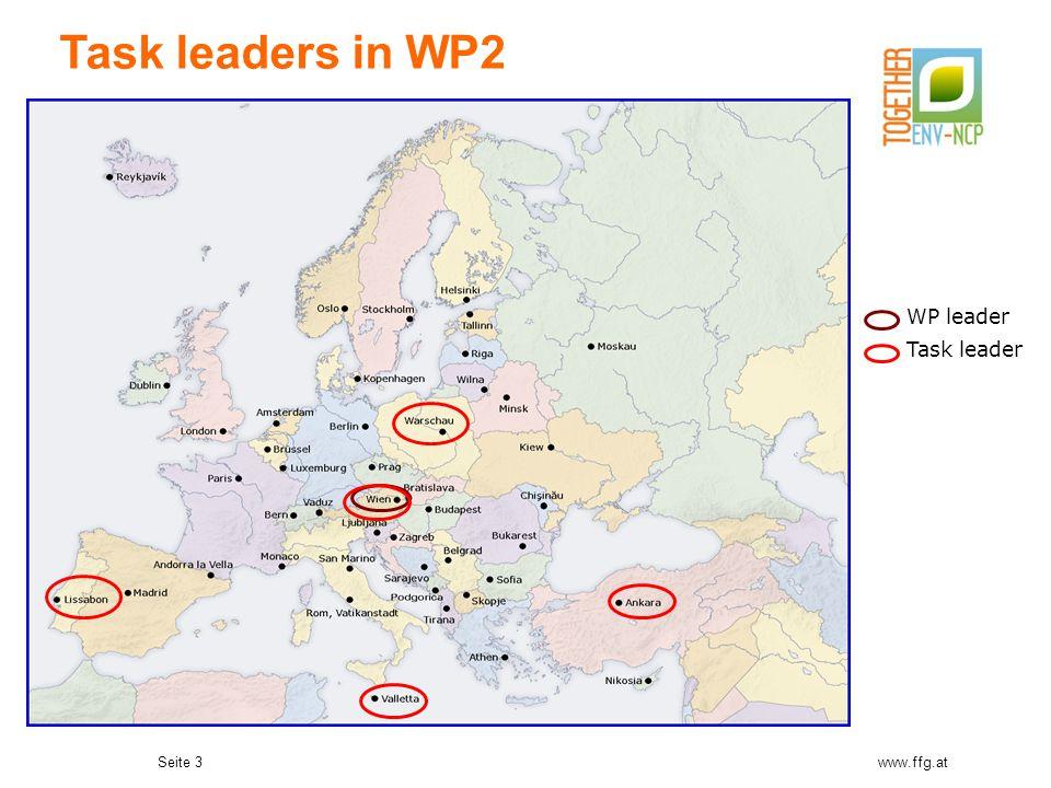 Seite 3www.ffg.at Task leaders in WP2 WP leader Task leader