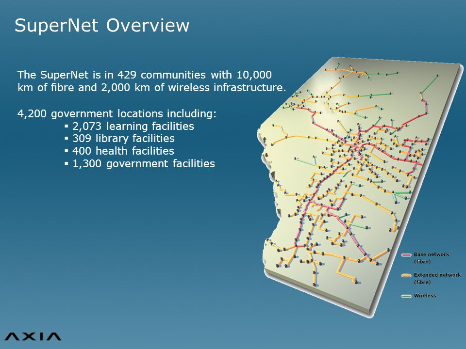 The SuperNet is in 429 communities with 10,000 km of fibre and 2,000 km of wireless infrastructure.
