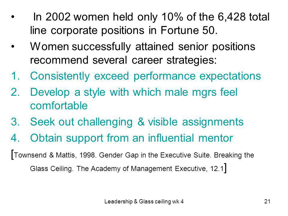 Leadership & Glass ceiling wk 421 In 2002 women held only 10% of the 6,428 total line corporate positions in Fortune 50.