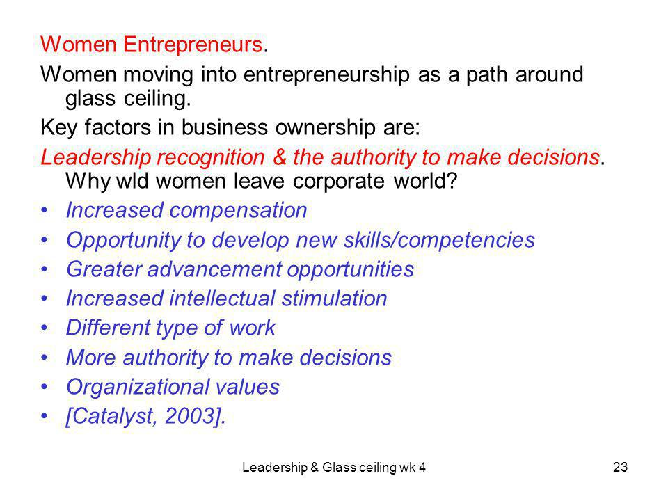 Leadership & Glass ceiling wk 423 Women Entrepreneurs.