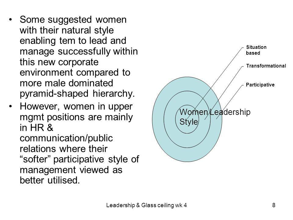 Leadership & Glass ceiling wk 48 Some suggested women with their natural style enabling tem to lead and manage successfully within this new corporate environment compared to more male dominated pyramid-shaped hierarchy.