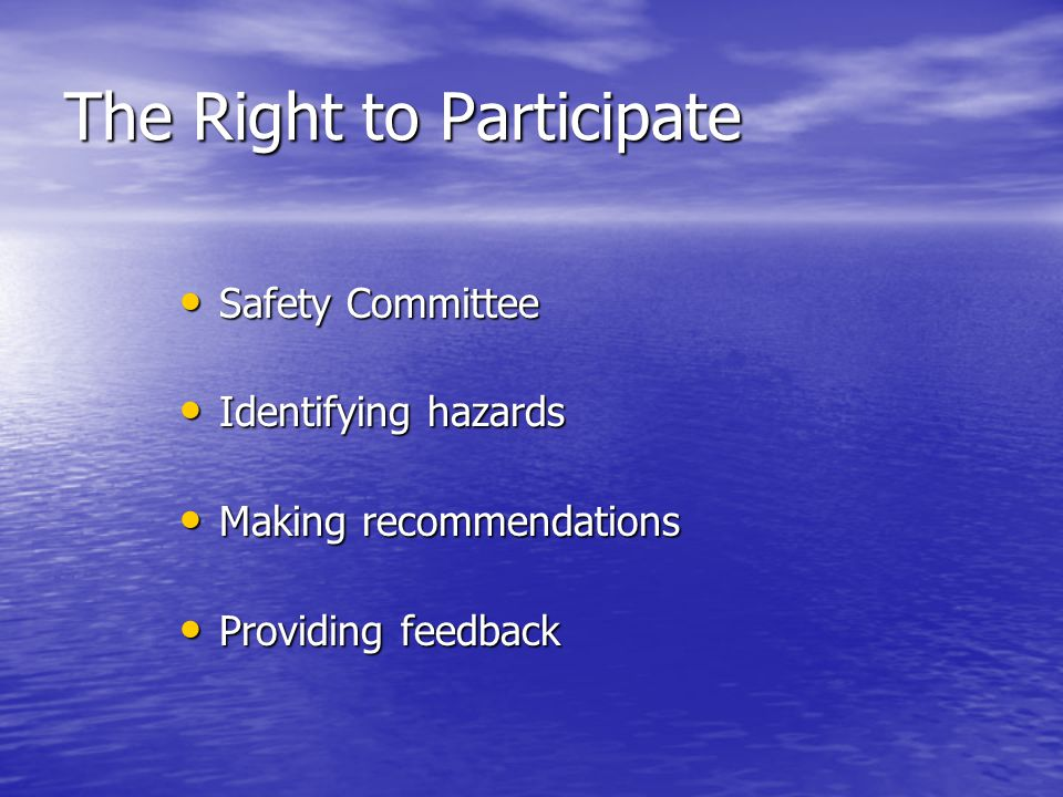 The Right to Participate Safety Committee Safety Committee Identifying hazards Identifying hazards Making recommendations Making recommendations Provi