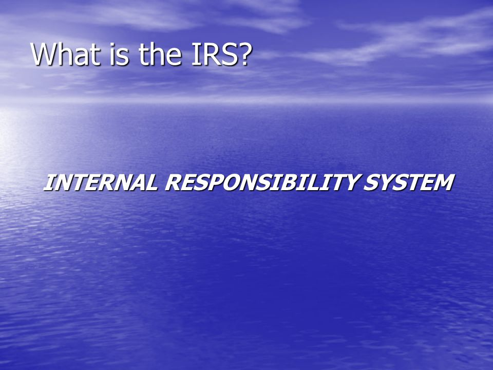 What is the IRS? INTERNAL RESPONSIBILITY SYSTEM