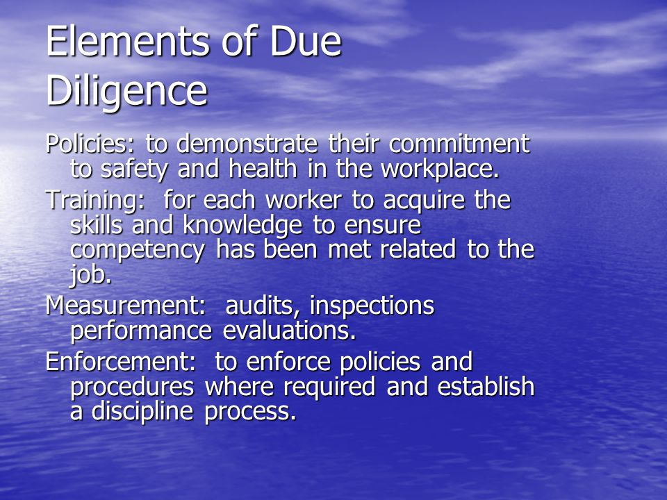 Elements of Due Diligence Policies: to demonstrate their commitment to safety and health in the workplace. Training: for each worker to acquire the sk