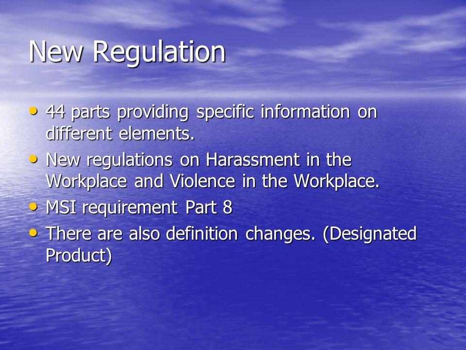 New Regulation 44 parts providing specific information on different elements. 44 parts providing specific information on different elements. New regul