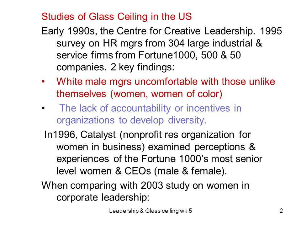 Leadership & Glass ceiling wk 523 Lack of global talent as an emerging issue of aging workforce.