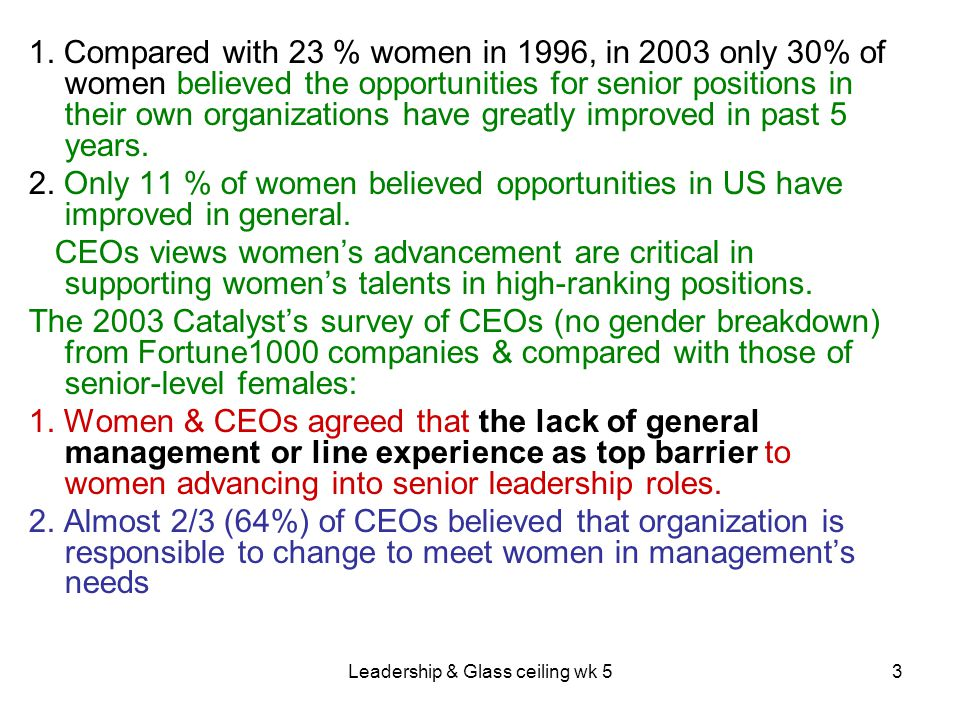 Leadership & Glass ceiling wk 54 4.3.