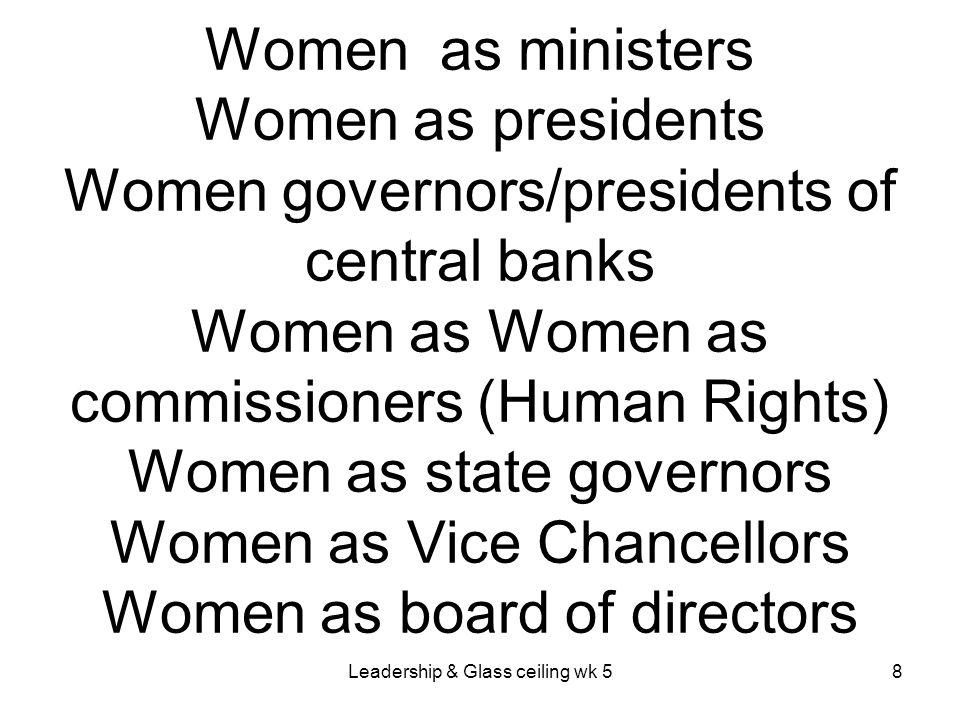 Leadership & Glass ceiling wk 529 ` Overt & Covert Barriers for Women to Domestic & International Senior Positions.