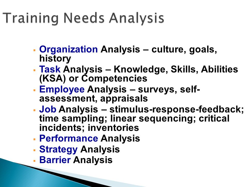 Organization Analysis – culture, goals, history  Task Analysis – Knowledge, Skills, Abilities (KSA) or Competencies  Employee Analysis – surveys, self- assessment, appraisals  Job Analysis – stimulus-response-feedback; time sampling; linear sequencing; critical incidents; inventories  Performance Analysis  Strategy Analysis  Barrier Analysis Training Needs Analysis