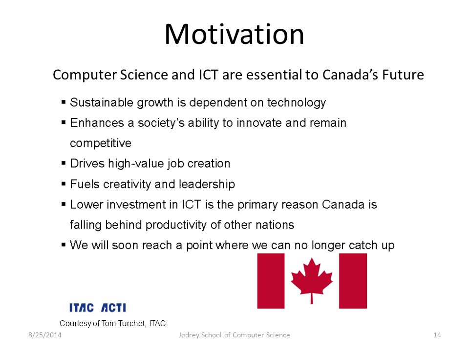 Motivation 8/25/2014Jodrey School of Computer Science14 Courtesy of Tom Turchet, ITAC Computer Science and ICT are essential to Canada's Future