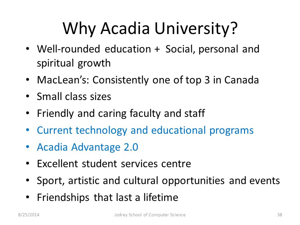 Why Acadia University.