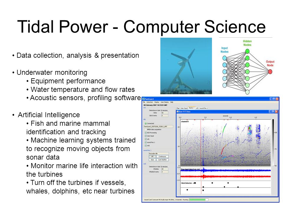 Tidal Power - Computer Science Data collection, analysis & presentation Underwater monitoring Equipment performance Water temperature and flow rates Acoustic sensors, profiling software Artificial Intelligence Fish and marine mammal identification and tracking Machine learning systems trained to recognize moving objects from sonar data Monitor marine life interaction with the turbines Turn off the turbines if vessels, whales, dolphins, etc near turbines