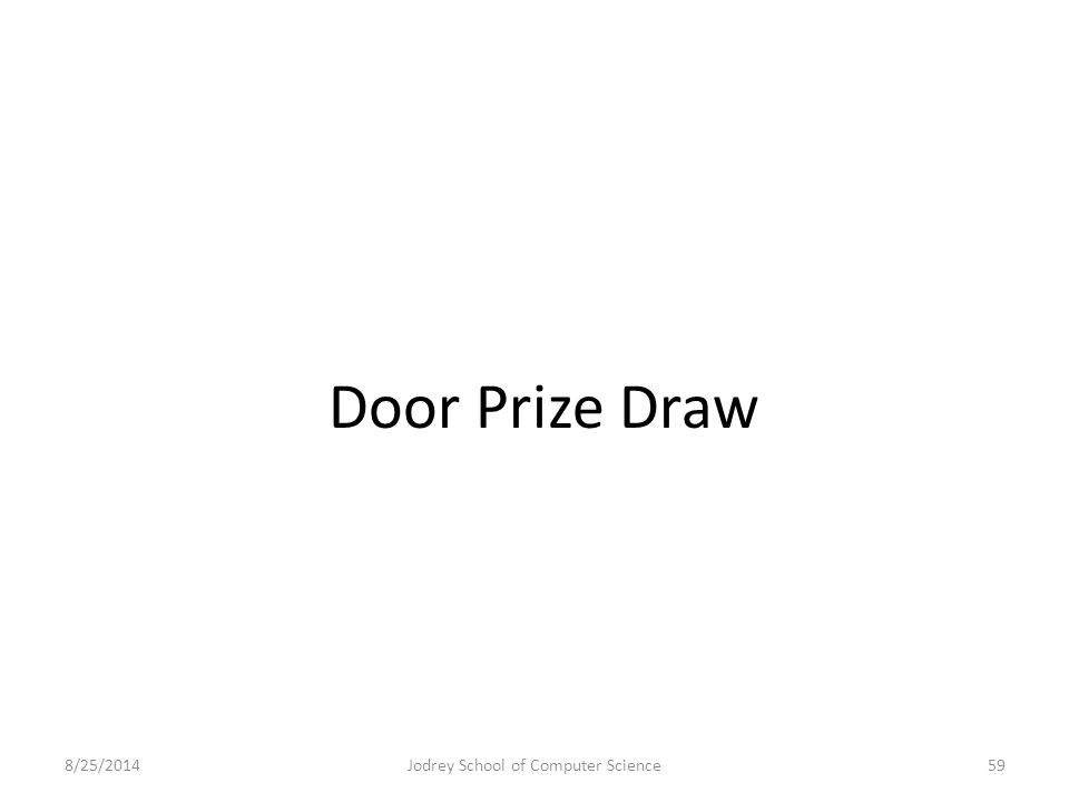 Door Prize Draw 8/25/2014Jodrey School of Computer Science59