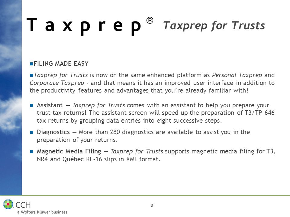 8 Assistant — Taxprep for Trusts comes with an assistant to help you prepare your trust tax returns! The assistant screen will speed up the preparatio