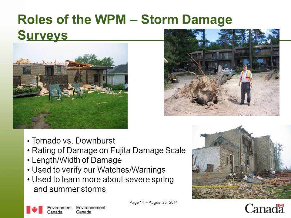 Page 14 – August 25, 2014 Roles of the WPM – Storm Damage Surveys Tornado vs.