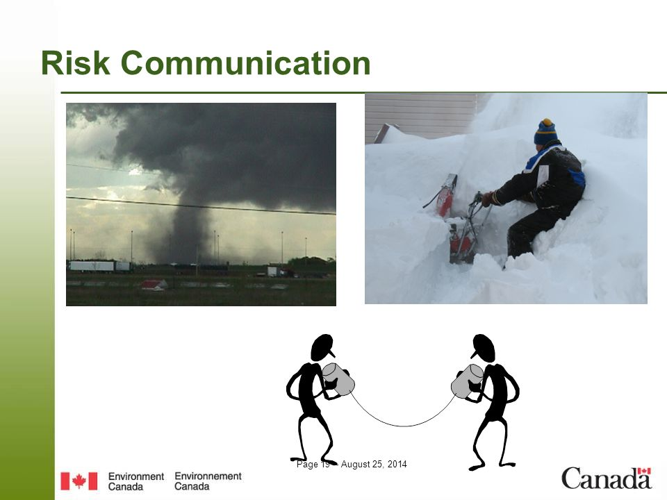 Page 19 – August 25, 2014 Risk Communication