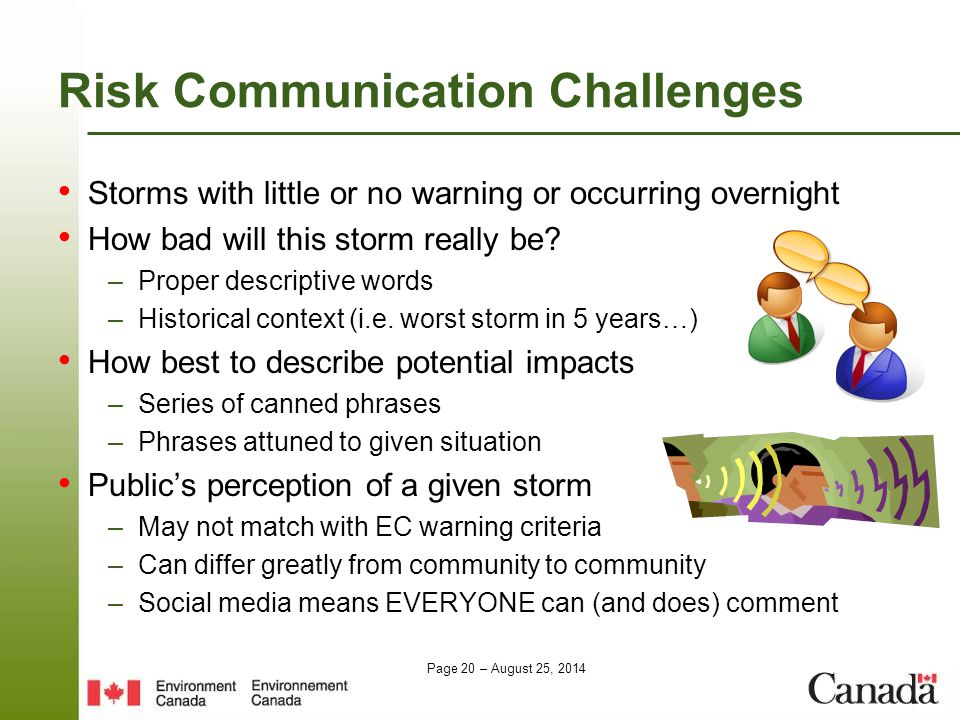 Page 20 – August 25, 2014 Risk Communication Challenges Storms with little or no warning or occurring overnight How bad will this storm really be? –Pr