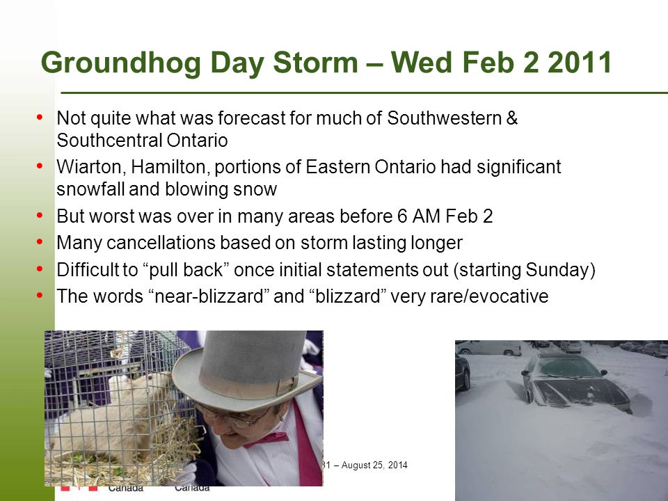 Page 31 – August 25, 2014 Groundhog Day Storm – Wed Feb 2 2011 Not quite what was forecast for much of Southwestern & Southcentral Ontario Wiarton, Ha