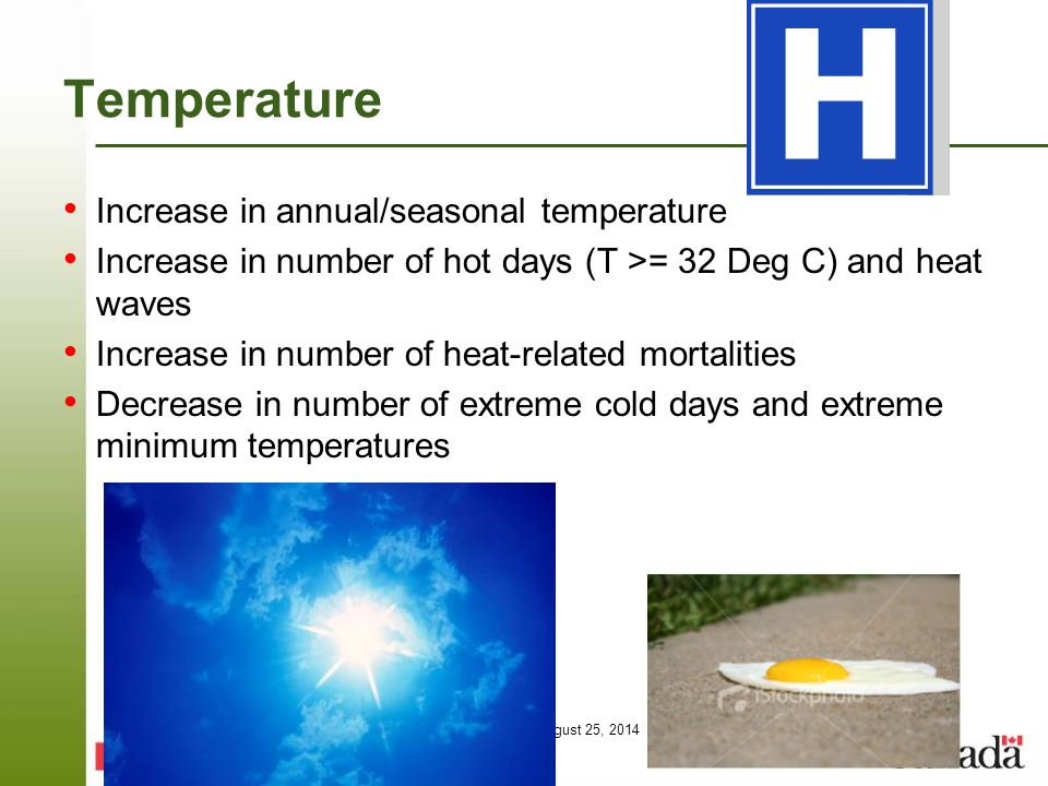 Page 46 – August 25, 2014 Temperature Increase in annual/seasonal temperature Increase in number of hot days (T >= 32 Deg C) and heat waves Increase i