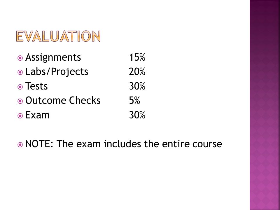  Assignments15%  Labs/Projects20%  Tests30%  Outcome Checks5%  Exam30%  NOTE: The exam includes the entire course