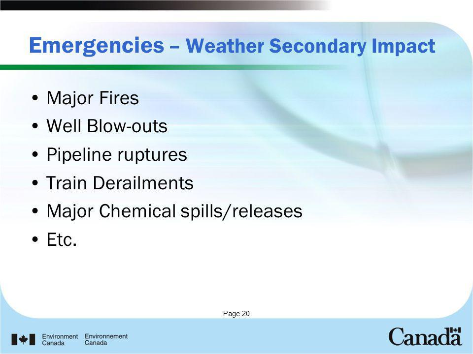 Page 20 Emergencies – Weather Secondary Impact Major Fires Well Blow-outs Pipeline ruptures Train Derailments Major Chemical spills/releases Etc.