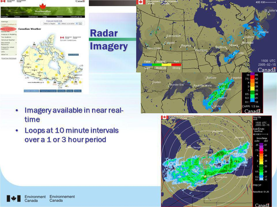 Radar Imagery Imagery available in near real- timeImagery available in near real- time Loops at 10 minute intervals over a 1 or 3 hour periodLoops at
