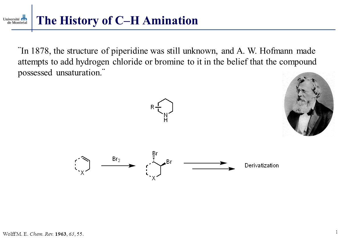 The History of C–H Amination (a) Wolff M.E. Chem.