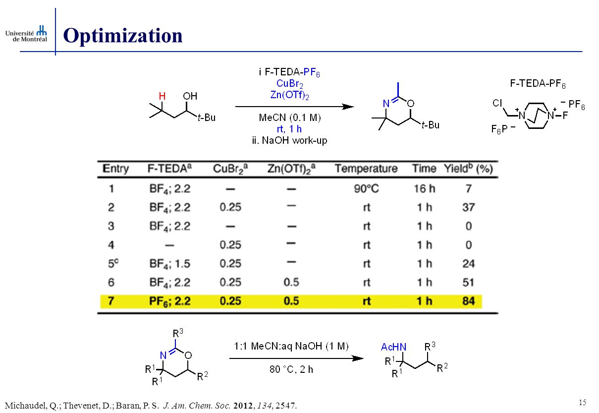 Optimization 15 Michaudel, Q.; Thevenet, D.; Baran, P. S. J. Am. Chem. Soc. 2012, 134, 2547.
