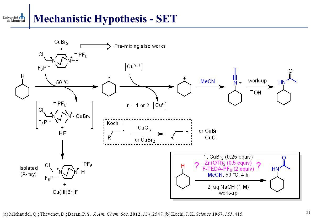 Mechanistic Hypothesis - SET 21 (a) Michaudel, Q.; Thevenet, D.; Baran, P.