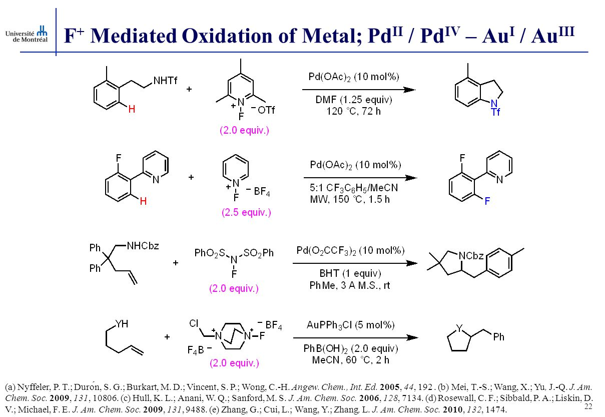 F + Mediated Oxidation of Metal; Pd II / Pd IV – Au I / Au III 22 (a) Nyffeler, P.