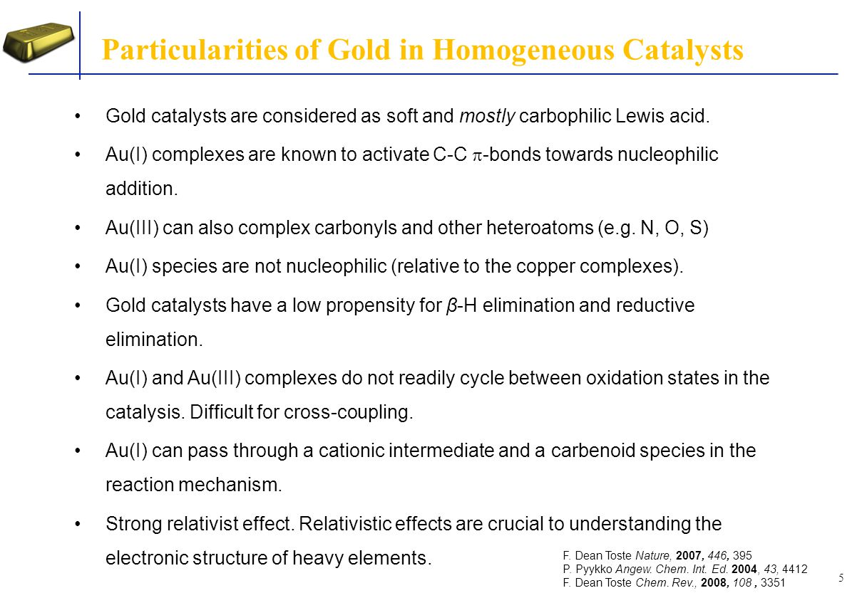 Relativistic Effect of Gold Relativistic Quantum chemistry describes the electron dynamics, chemical bonding and particularly the behaviour of the heavier elements of the periodic table (specially the elements in which the 4f and 5d orbitals are filled), aurophilicity (strong Au-Au interaction), etc.
